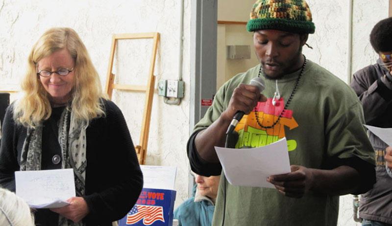 Sally Hindman, co-founder of Street Spirit and artist Marsean Dunham