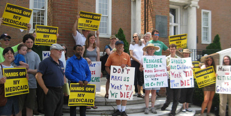 Protesters challenge Congressman Tiberi and Stivers to Support Medicare & Medicaid in Ohio in 2011