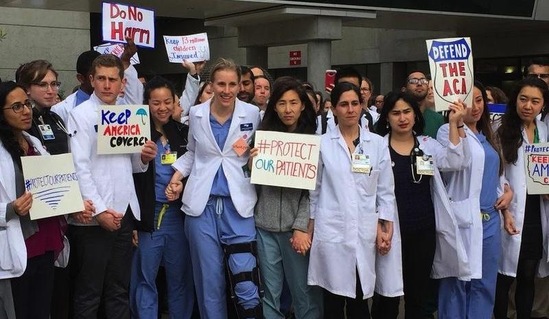 Medical students at Zuckerberg SF General Hospital show their support for the Affordable Care Act