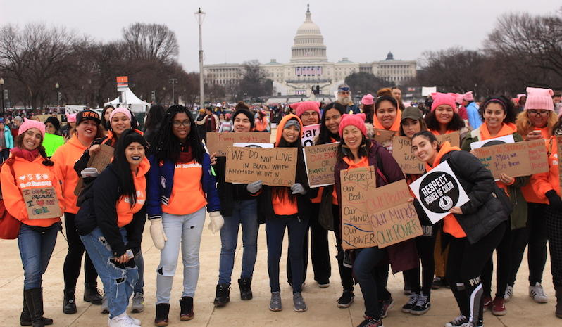 High schoolers from the San Francisco Unified School District participating in the Woman's March in Washington