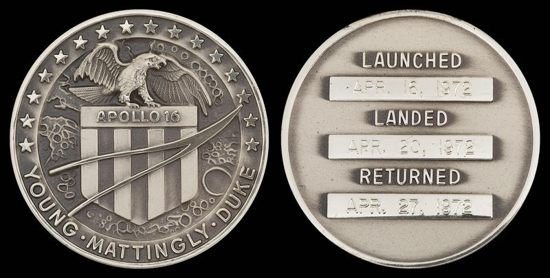 Robbins medallion commemorating the Apollo 16 mission.