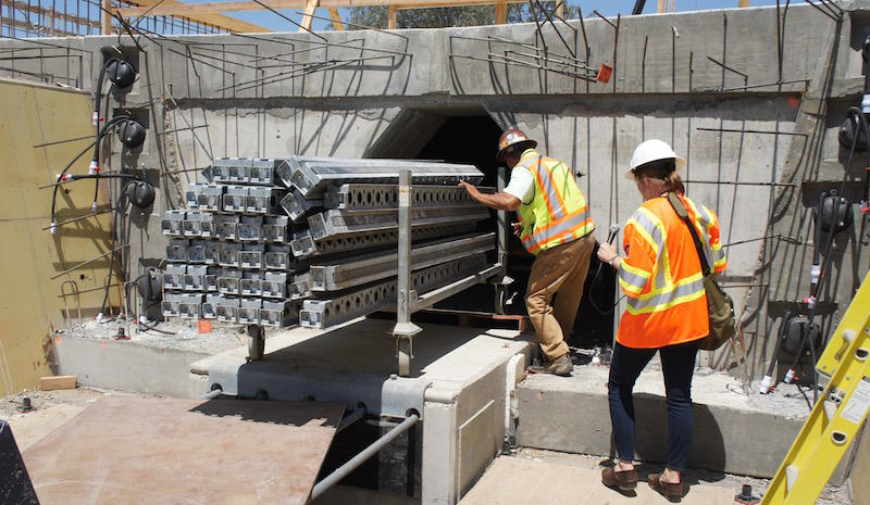 Walking inside the Fresno River viaduct, one of the first pieces of high-speed rail construction.