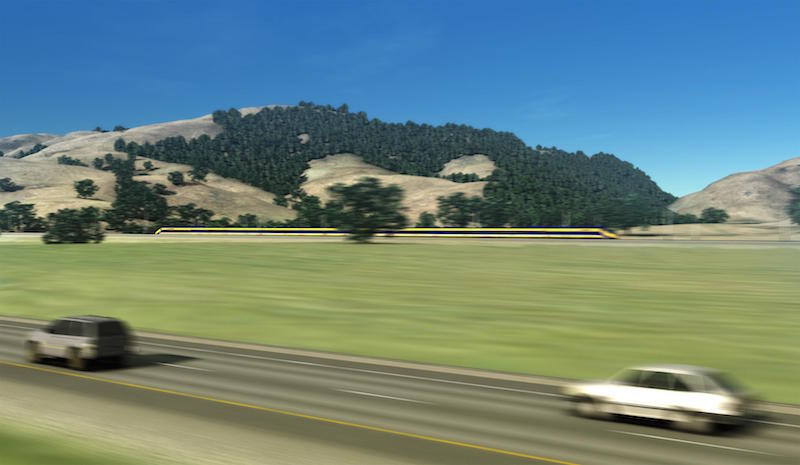 A mockup of what high-speed rail trains will look like speeding through Pacheco Pass
