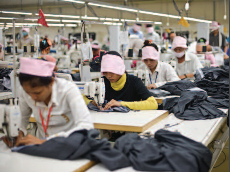 Women in the sewing division of a factory in Phnom Penh, Cambodia's capital. Women constitute about 90 percent of the workforce in Cambodia's garment industry.