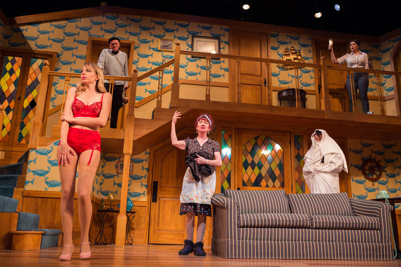 The cast of the farce 'Nothing On' muddles through an ill-fated performance in 'Noises Off' at SF Playhouse. (From left: Monique Hafen, Richard Louis James, Kimberly Richards, Greg Ayers, Nanci Zoppi).