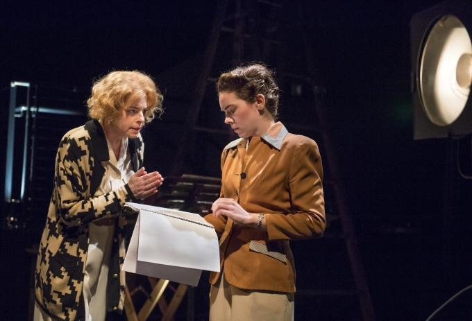 Seasoned filmmaker Leni Riefenstahl (l. Stacy Ross) has a tête-à-tête with her younger self (r. Martha Brigham) in Aurora Theatre Company's Bay Area Premiere of 'Leni'...