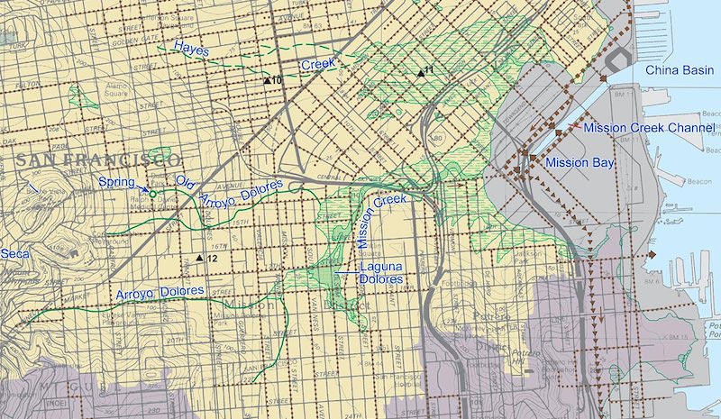 Ramirez-Herrera, M.T., Sowers, J.M. and Richard, C.M., 2006, Creek & Watershed Map of San Francisco: Oakland Museum of California, Oakland, CA, 1:25, 800 scale.