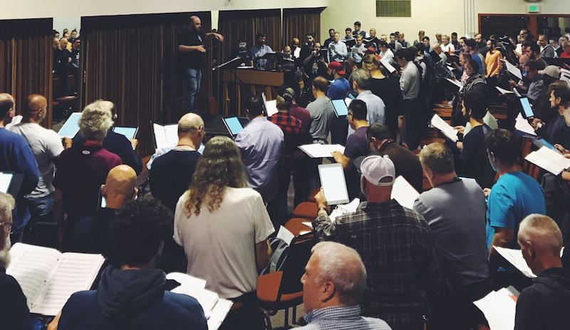 The San Francisco Gay Men's Chorus rehearses