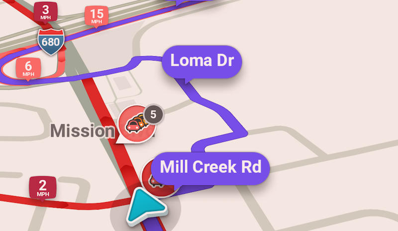 The app Waze suggests a circuitous route around traffic in Fremont. (Screenshot)