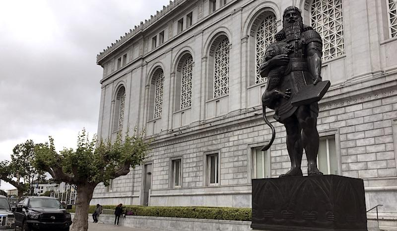 Artist Fred Parhad's bronze sculpture of Assyrian King Ashurbanipal was erected in front of the San Francisco Main Library in 1987.