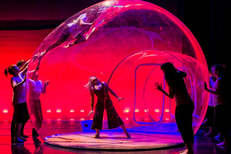 Stacey Printz (inside the bubble) in GLASSlands by the Printz Dance Project…