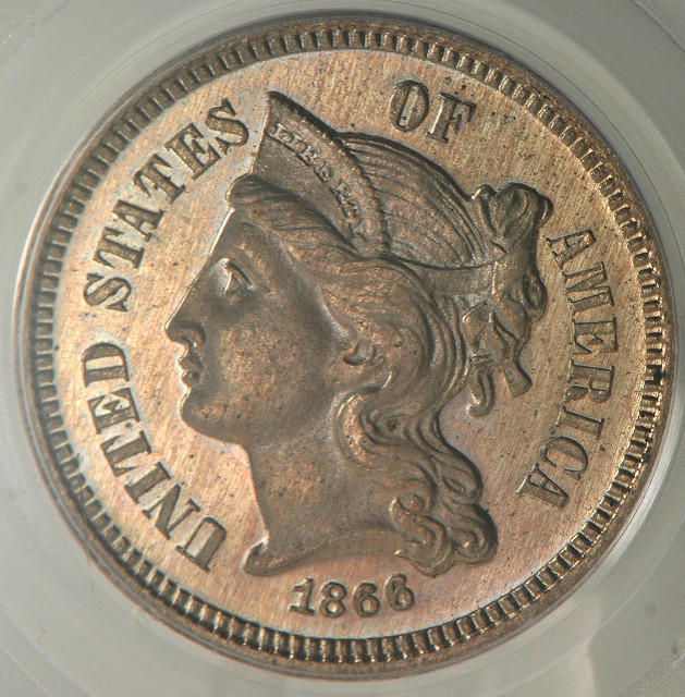 1866 3 Cent Nickel, PCGS PR-64, by flickr user Northern Lights Numismatics