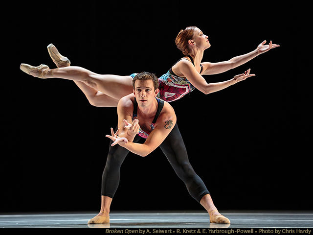 Dancers Robert Kretz and Erin Yarbrough-Powell in 'Broken Open' by Amy Siewert, part of Smuin's 'Dance Series 2'…