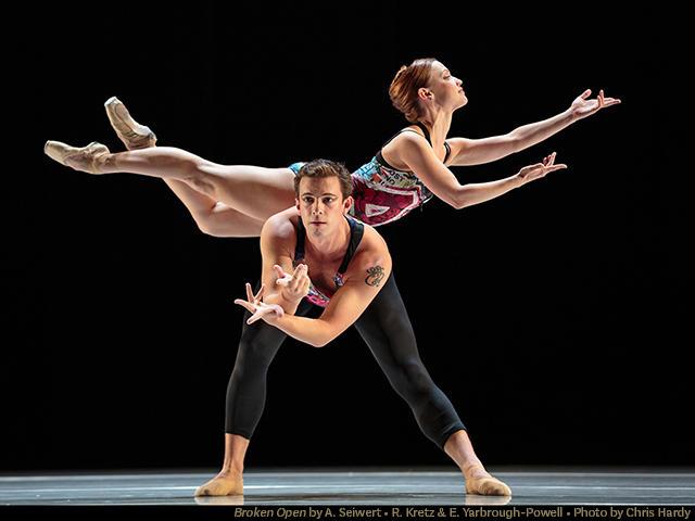 Dancers Robert Kretz and Erin Yarbrough-Powell in 'Broken Open' by Amy Siewert, part of Smuin's 'Dance Series 2'…