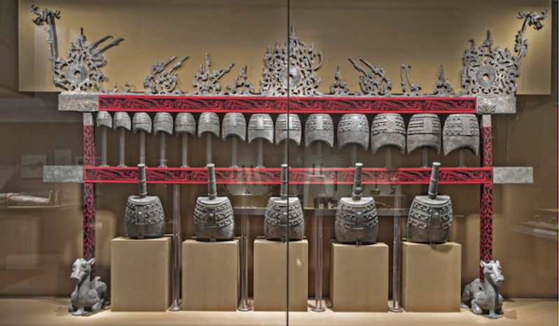 This set of bronze bells, buried 2,000 years ago in an emperor's tomb, is on display at the Asian Art Museum