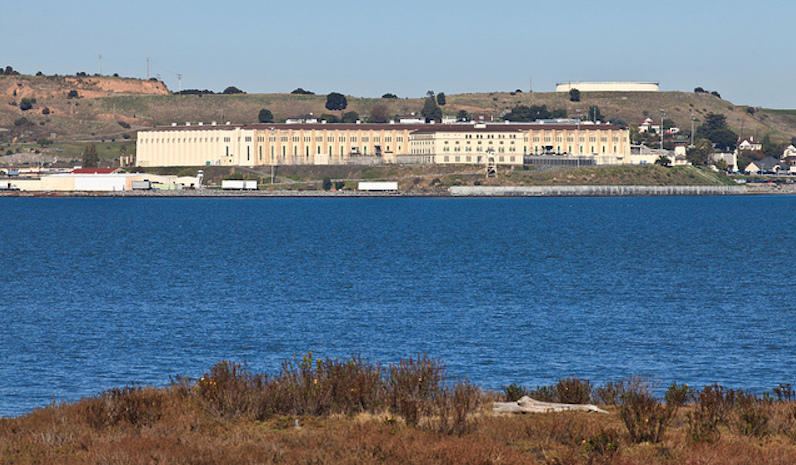 A view of San Quentin Prison from across the bay