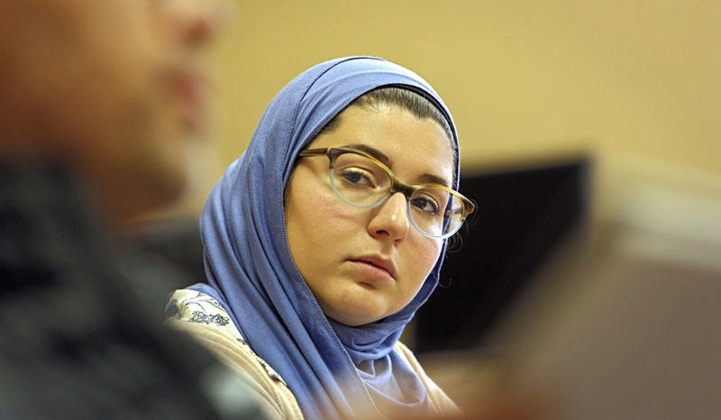"Nathalia Costa listens during ""Study Islam,"" a convert support class."