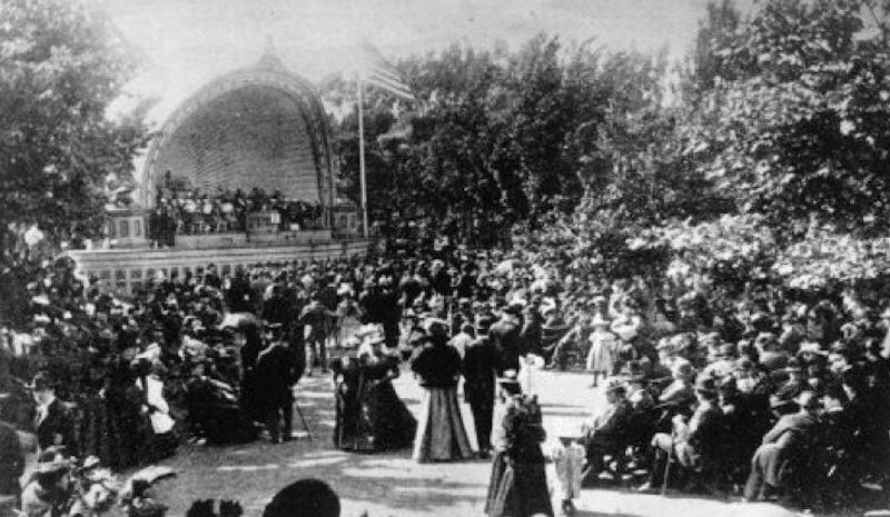 The Golden Gate Park Band, the first band shell, 1890