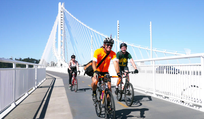 Bicyclists riding the path today