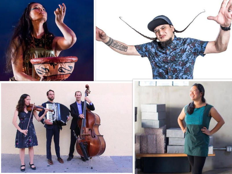 Sights & Sounds guests (clockwise from top left): Rulan Tangen, Deuce Eclipse, Sita Bhaumik,  Village Road Trio
