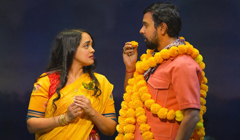 Anisha Nagarajan (Alice) and Namit Das (PK Dubey) in the world premiere musical Monsoon Wedding, based on director Mira Nair's 2001 film.