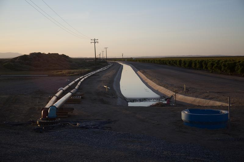 Lost Hills, CA: a pipeline allegedly owned by Stewart Resnick, bringing water from Dudley Ridge to Lost Hills