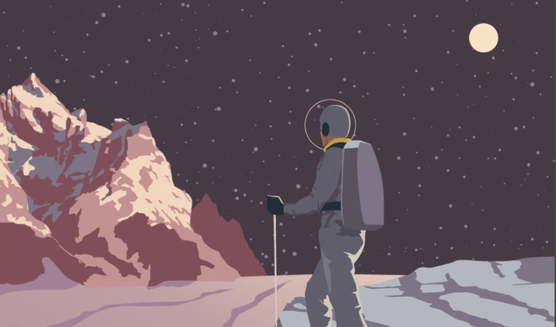 Caption: Hiking on Pluto, where a 150-pound human would weigh less than ten pounds (cropped).