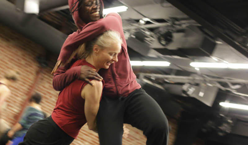 Dancers Shel Wagner Rasch and Taisha Paggett practicing contact improvisation