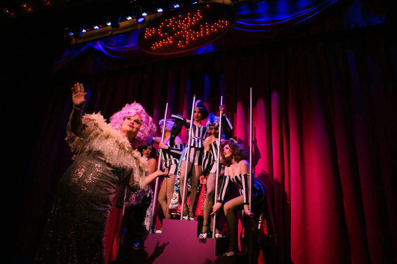 Albin (John Treacy Egan) performs as Zaza with the dancers at La Cage aux Folles at SF Playhouse through September 16...