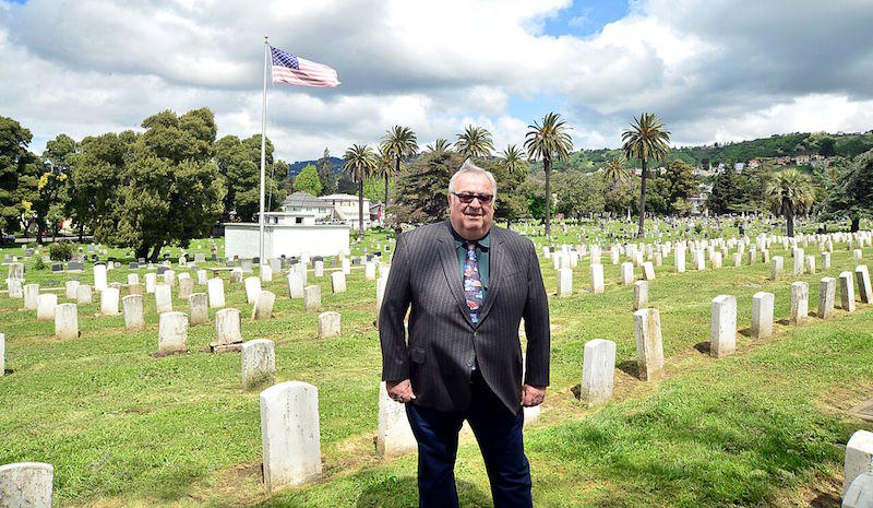 "Buck Kamphausen, ""the world's most famous undertaker"" in Evergreen Cemetery"