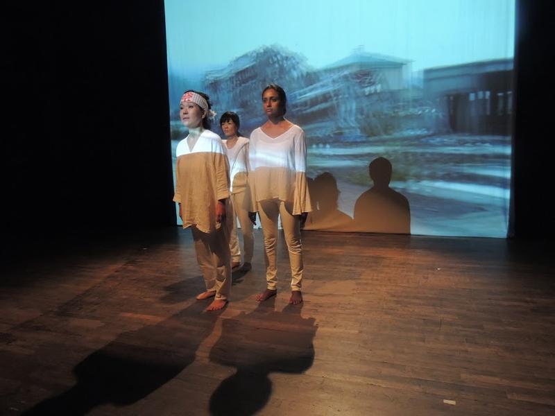 Actors/dancers Shigeko Sara Suga, Takemi Kitamura, Monisha Shiva (left to right), in 'News from Fukushima', this weekend at Z Space in San Francisco...