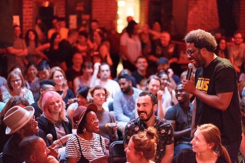 W. Kamau Bell in the crowd at the New Parish