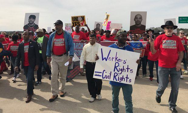 Workers at the historic 5,000 person March on Mississippi against Nissan in March