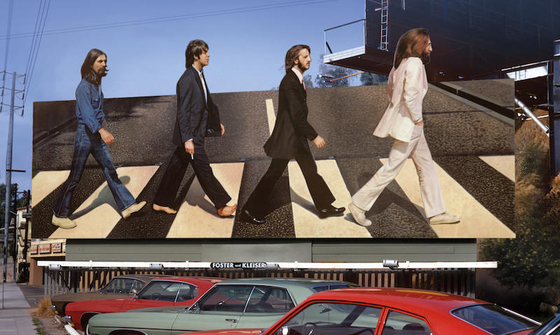 """Billboard for The Beatles' """"Abbey Road"""" record circa 1969 on the Sunset Strip."""