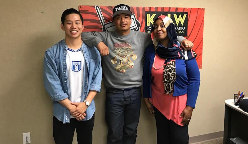 Rapper Nump with producer Boawen Wang and host Hana Baba