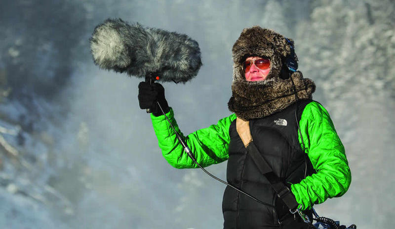 Jennifer Jerrett recording sound for her Yellowstone collection