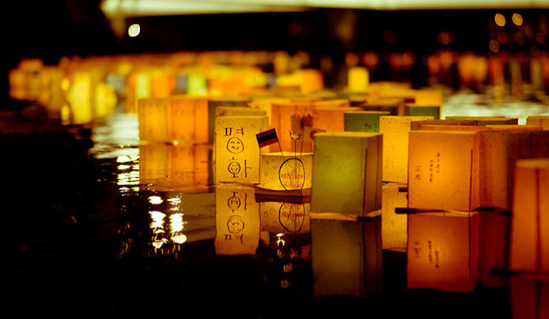 A lantern ceremony on the Motoyasu River that runs below the Atomic Bomb Dome