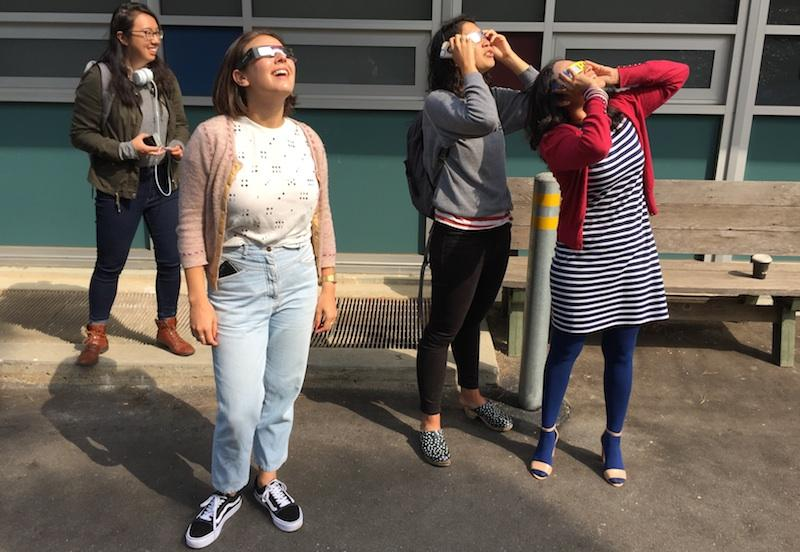KALW staffers view the eclipse