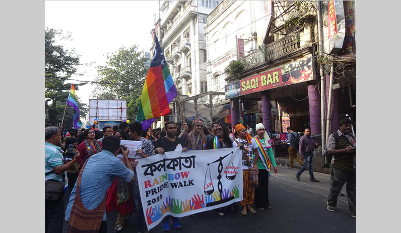 Gay marchers in Kolkata, India