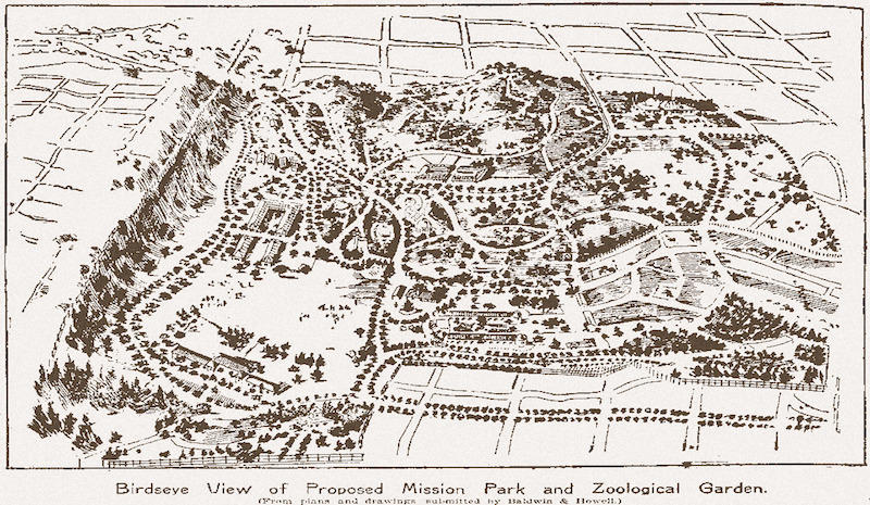 Map of the proposed Mission Park and Zoological Gardens in Glen Park, drawn by Berkeley landscape architect George Hansen for the realty firm Baldwin & Howell in July, 1897.