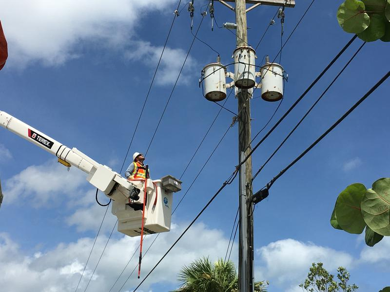 PG&E crews are inspecting damaged power lines and poles in Jupiter, Florida. Employees traveled from California on Friday, Sept. 8, to support restoration efforts.