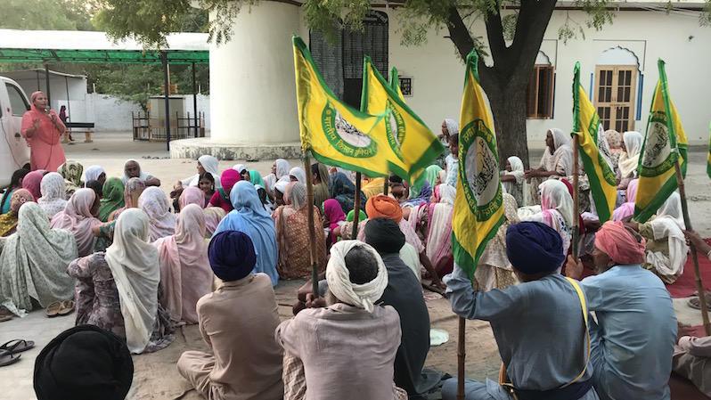 A gathering of a local farmers organization in Punjab, India called Bhartiya Kisan Union or BKU