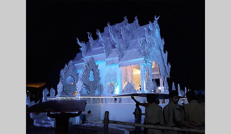 Replica Thai temple built for Durga Puja