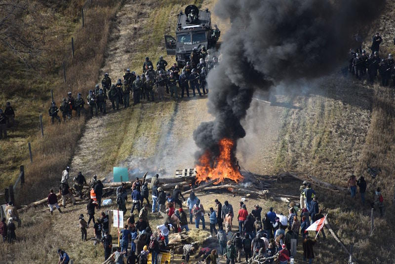 Law enforcement photo obtained by the Intercept of Standing Rock water protectors trying to stop police advancement