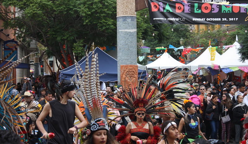 Aztec dancers perform at the Día de los Muertos festival in Fruitvale