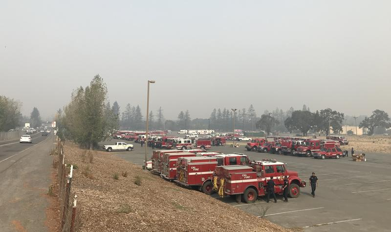 A staging area for emergency-response vehicles in Santa Rosa during the devastating October wildfires.