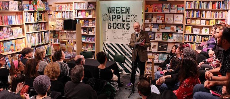 Visiting author John Waters reading at Green Apple's second store, Green Apple Books on the Park