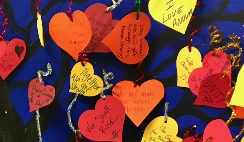 Leaves decorated by Anova students and parents adorn a paper tree at the Santa Rosa's Odd Fellows Hall, where they gathered on Oct. 17 to learn of the school's plans to reopen.