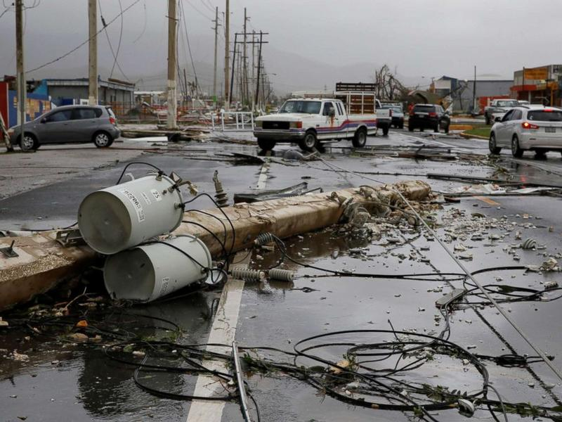 Damaged electrical installations are seen after the area was hit by Hurricane Maria en Guayama, Puerto Rico, Sept. 20, 2017.