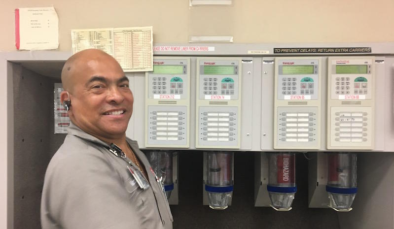 Marcus Picou, lead maintenance engineer, oversees the entire pneumatic tube system.